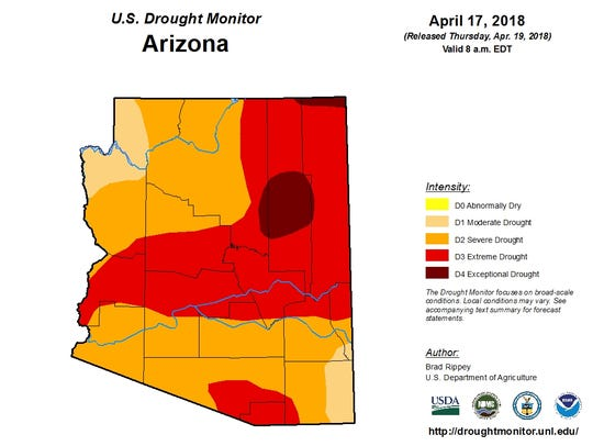 Map showing drought conditions in Arizona as of April