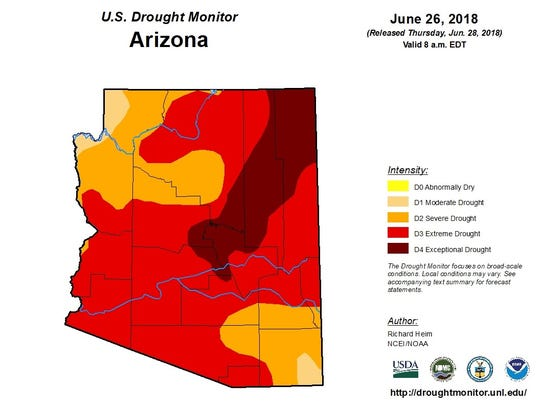 Arizona drought conditions according to the June 26,