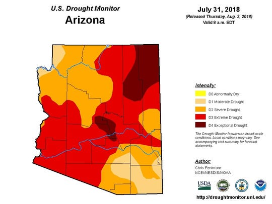 July 31, 2018 map of Arizona from the U.S. Drought