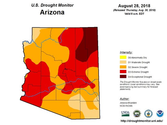 August 28 drought map from the U.S. Drought Monitor.