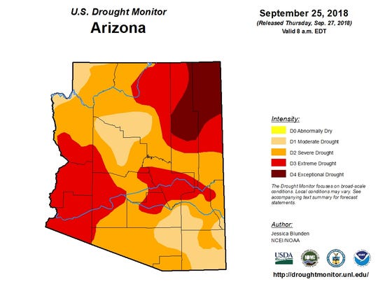 Sept. 25, Arizona drought map from the U.S. Drought