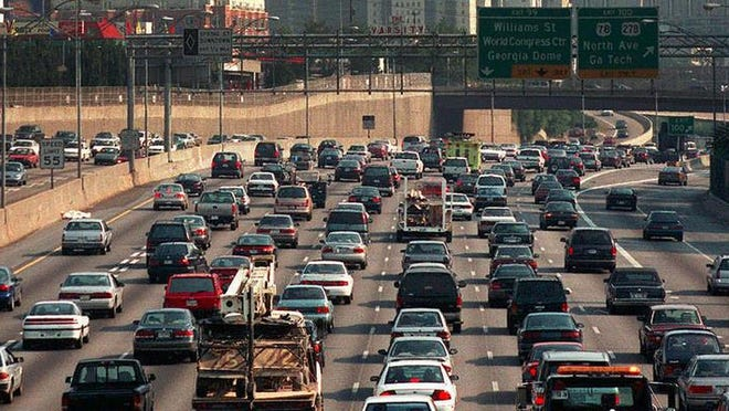 Nine lanes of traffic and no one is getting anywhere fast during rush hour in Atlanta.
