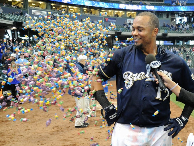 May 31: Brewers' Martin Maldonado is showered with