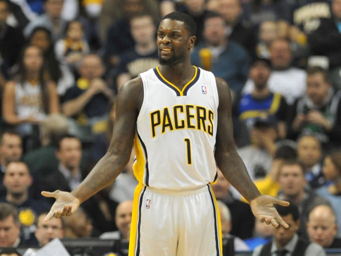 Indiana's Lance Stephenson can't believe he got called for a technical foul in the first quarter, as the Indiana Pacers hosted the Dallas Mavericks at Bankers Life Fieldhouse Wednesday February 12, 2014.