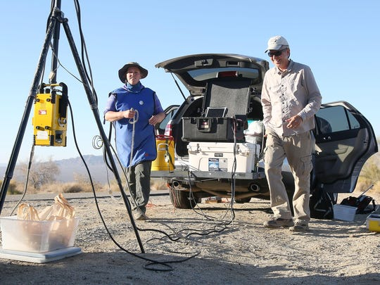 U.S. Geological Survey researchers Jeff Lovich and Shellie Phillips X-ray a female desert tortoise in Joshua Tree National Park on Tuesday, July 14, 2015. Researchers are partnered with the Coachella Valley Conservation Commission to study the threatened species.