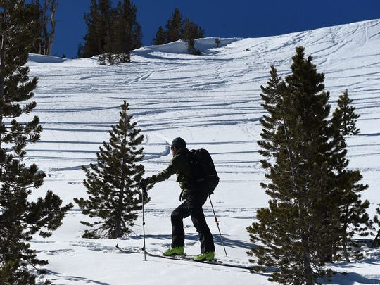 Owner of the Tahoe Mountain School and official observer for the Sierra Avalanche Center Steve Reynaud skins up a northeast slope on Mount Tamarack near the top of Mt. Rose Highway south of Reno on Feb. 24, 2015.
