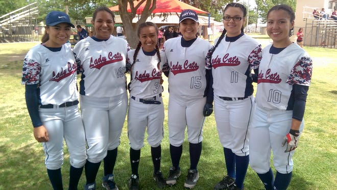 The Deming High softball program honored its graduating seniors during the team's final home double-header of the year on April 23. The seniors who lettered in this year's program are, from left, Aileen Granillo, Gaby Pacheco, Monic Jimenez, Erika Lopez, Michelle Granillo and Arianna Reyes. Michelle Granillo is a junior who will graduate early.