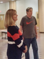 Janet Pound and director David Regal at rehearsal.