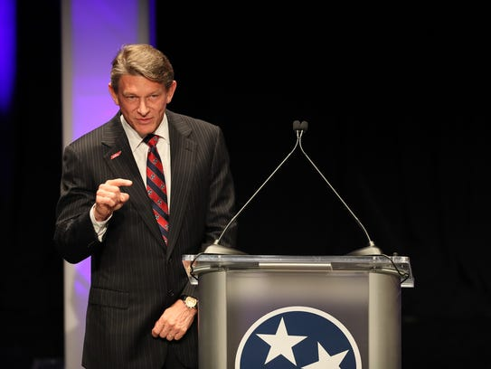 Randy Boyd prior to the West Tennessee Gubernatorial Debate at the Halloran Center in Memphis on Wednesday.
