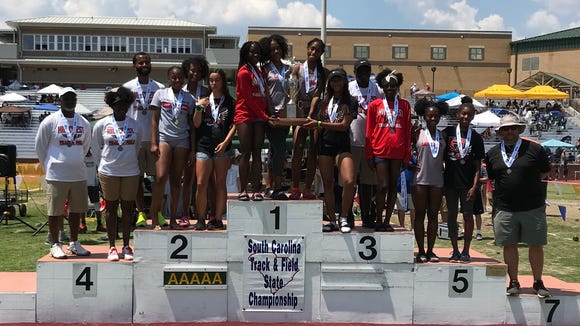 The Hillcrest High girls track team placed second behind Wando in the Class AAAAA track and field championships Saturday in Columbia.