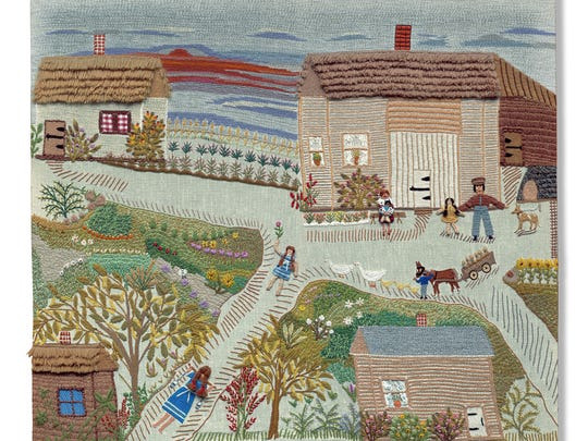 """Fabric of Survival,"" a collection of photographs of 36 tapestries created by Holocaust survivor Esther Nisenthal Krinitz, will be displayed at Anshe Emeth Memorial Temple in New Brunswick from April 17 through May 15.  Among the works created by Krinitz is ""My Childhood Home,"" depicting the village in Poland where she was born."
