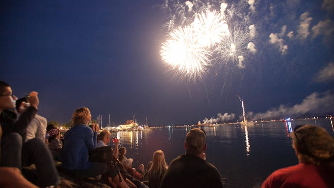 Spectators watch the Burlington fireworks.