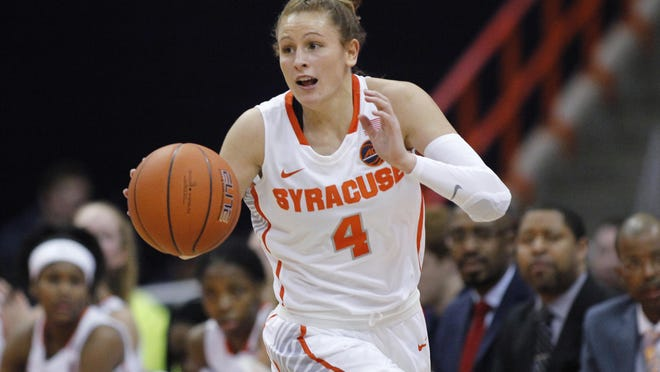 Syracuse University's Tiana Mangakahia dribbles down court against Miami during a Jan. 23, 2019, game in Syracuse, New York.