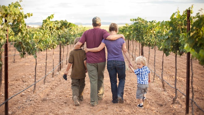 The Bostock family -- Parker (from left), Kelly, Todd and Griffin -- walk in the vineyard at Dos Cabezas Wineworks in Sonoita.