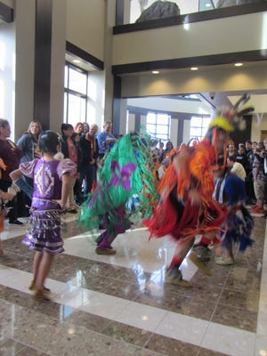 Native American students from Great Falls grade schools did a fancy dance at a Monday at the Great Falls Federal Courthouse.
