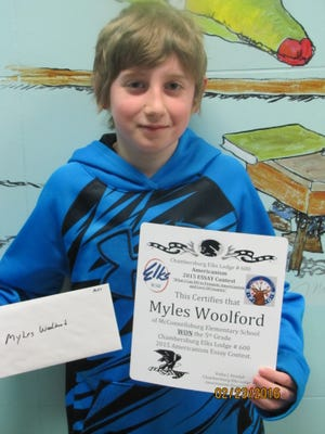 Myles Woolford of McConnellsburg ELementary School won first place in the fifth-grade division.