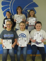 Winners from McConnellsburg Middle School, left to right, in the front row, are Kylie Brown, Nicole Treml and Willow Clary; back row, Donovan Garlock, Kolby Gress and Emma Ott.