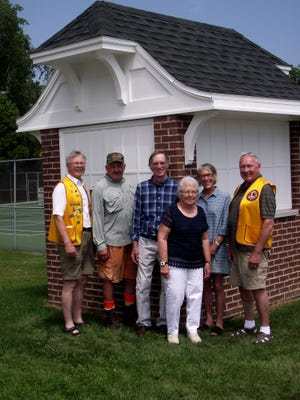 The Two Rivers Lions Club donated $1,000 to the Washington High School Ticket House Project. Pictured, from left, is Paul R. Schmid, Ric Heuer, Carl Liebich, Elaine Kupsh, Chris Liebich and Milt Kintopf. Kupsh's late husband, Joe, was a former business teacher at WHS and sold tickets at the booth for more than 30 years. Kintopf, Schmid and Heuer formerly taught at WHS.