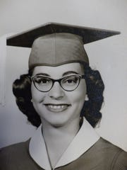 Juliette Lane as a senior, who graduated in 1959 from Star of the Sea Catholic School in Honolulu, Hawaii.