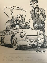 A 1964 editorial cartoon by Pat McCarthy is among the artwork to be auctioned May 2. It features former Michigan Gov. George Romney who  was considered for the GOP's presidential nomination that year. The Republicans instead fielded Barry Goldwater, who lost to LBJ.