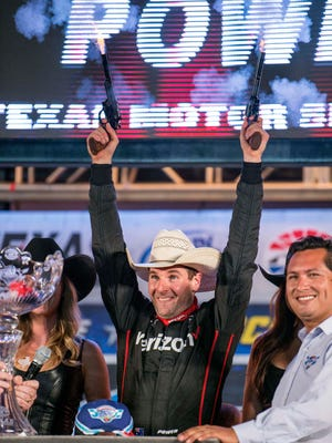 Verizon IndyCar Series driver Will Power celebrated winning the Rainguard Water Sealers 600 at Texas Motor Speedway on Saturday night.