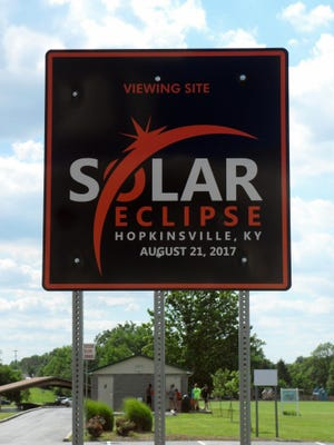 This June 7, 2017 photo shows a sign showcasing a upcoming solar eclipse in Hopkinsville, Ky. For the first time in 99 years, a total solar eclipse will sweep across the United States on Aug. 21. There is heightened anticipation in the eclipses path, including in the small, rural towns of southwestern Kentucky.