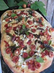 Fig, bacon and goat cheese pizza by Chef Celia Casey.