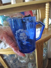 A blue Shirley Temple pitcher is part of LuBell Kendall's