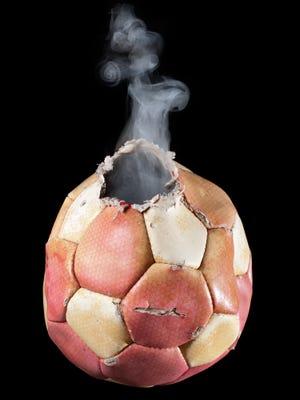 Smoking soccer ball.