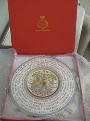 Plate presented to South Fork from Queen Elizabeth II with the Kings & Queens of the Monarchy since the 11th century