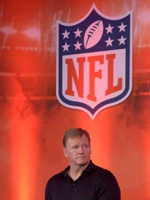 Oct 28, 2017; London, United Kingdom; NFL commissioner Roger Goodell reacts at NFL UK Live at the Landmark Hotel.