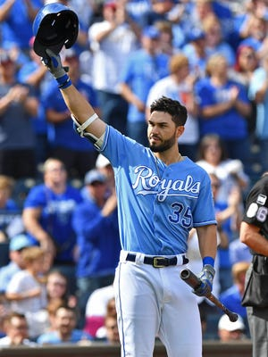 Eric Hosmer hit .318 with 25 homers and 94 RBI last season, and has hit at least 25 homers with 90 or more RBI the past two years.