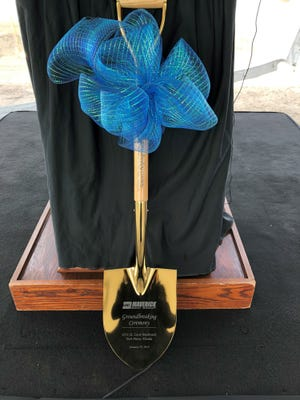 Maverick Boat Group's founder and president Scott Deal was presented with a ceremonial gold shovel at the groundbreaking.