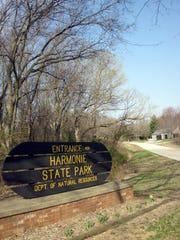The entrance to Harmonie State Park's mountain biking
