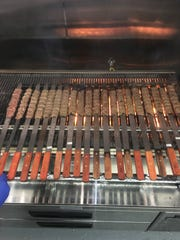 Kefta kabobs on the grill at Mighty Gyros in Glendale.