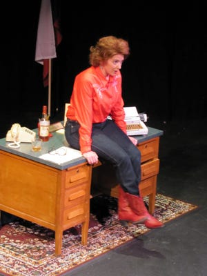 "Rhonda Brown stars as Molly Ivins in the play ""Red Hot Patriot,"" which runs April 23-26 in Des Moines and Ames."