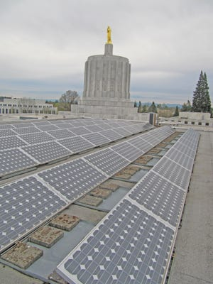 A portion of the electrical needs of the Capitol are produced with solar panels on the roof.