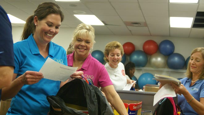 Megan Troutt, left,and Tina Atkins with CMG Financial helped fill backpacks for the United Way of Sumner County's Stuff the Bus event at Volunteer State Community College in 2015. SONY DSC