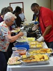 The buffet line is shown here with Eureka Lodge members
