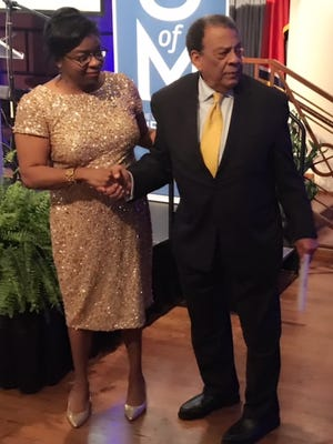 Civil rights icon and former UN ambassador Andrew Young, who was the featured speaker at the Benjamin L.Hooks Institute for Social Change at the University of Memphis annual gala, shares a moment with institute director Daphene McFerren.