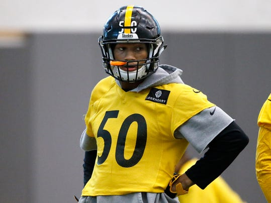 FILE - In this Jan. 14, 2016, file photo Pittsburgh Steelers linebacker Ryan Shazier (50) waits to run a drill during an NFL football practice in Pittsburgh. Shazier was released from the hospital on Thursday, Feb. 1, 2018,  nearly two months after suffering a spinal injury in a victory over Cincinnati. (AP Photo/Gene J. Puskar, File)