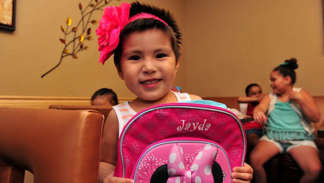 Jayda WhiteClay holds up her new Minnie Mouse backpack she got during a send-off pizza party for her week long Make-A-Wish trip to Disney World.  Jayda, age 4, is in cancer remission and hopes to see Mickey and Minnie Mouse on her trip.