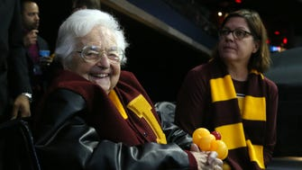 Loyola Ramblers team chaplain Sister Jean Dolores-Schmidt looks on prior to the championship game of the South regional of the 2018 NCAA Tournament against the Kansas State Wildcats at Philips Arena.