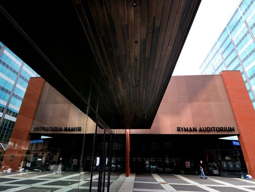 New front entrance of the Ryman Auditorium, which completedna