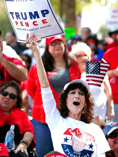 Julie Purdin, of Glendale, cheers during a Pro-Trump