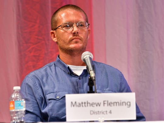 Candidate Matthew Fleming at the forum. Florida Today candidate forum for County Commission District 4 at Eastern Florida State College Cocoa Campus Tuesday evening with candidates Matthew Fleming, Trudie Infantini and Curt Smith.