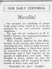 The Enquirer challenged Houdini to escape from a box