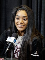 Mississippi State's Victoria Vivians responds to a