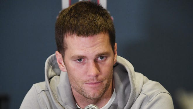 New England Patriots quarterback Tom Brady during a press conference at the JW Marriott Galleria in preparation for Super Bowl LI.