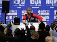 """FILE - In this Feb. 15, 2020, file photo, Chris Paul, of the Oklahoma City Thunder, speaks during NBA All-Star basketball media day in Chicago. The NBA and the National Basketball Players Association said Wednesday, June 24, 2020, that dealing with racial matters will be a shared goal during the resumed season. """"The issues of systemic racism and police brutality in our country need to end,"""" union president Chris Paul said. (AP Photo/Nam Y. Huh, File)"""